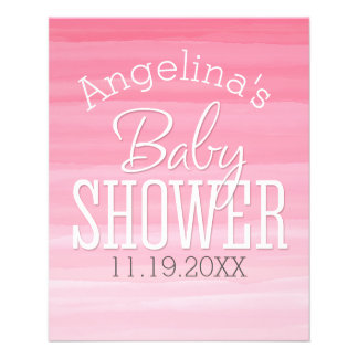 Watercolor Pink Ombre Sweet Girl Baby Shower Flyer