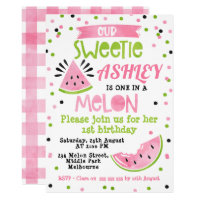 Watercolor Pink One In A Melon Birthday Invitation