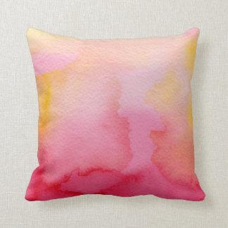 Watercolor Pink & Orange Blends Throw Pillow