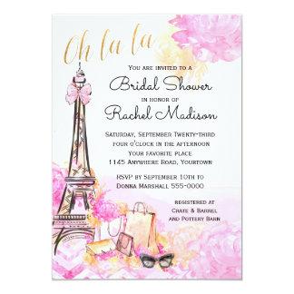 Watercolor Pink Parisian Bridal Shower Card