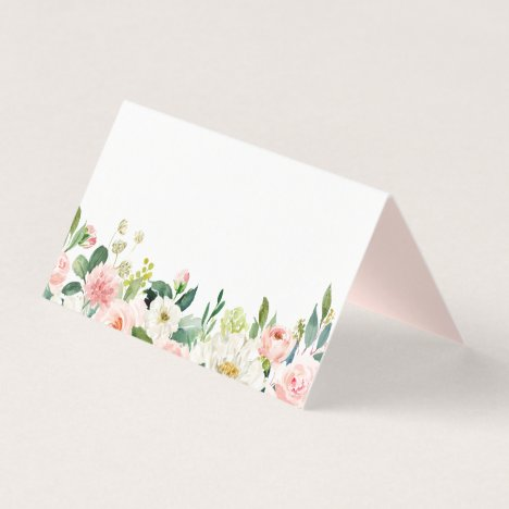 Watercolor Pink Peach Floral Garland Wedding Place Card