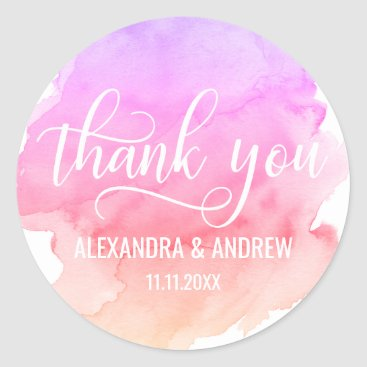 Beach Themed Watercolor Pink Peach Purple Wedding Thank You Classic Round Sticker