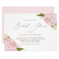 Watercolor Pink Peonies Bridal Shower Invitation