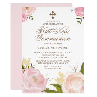 Watercolor Pink Peonies First Holy Communion Card