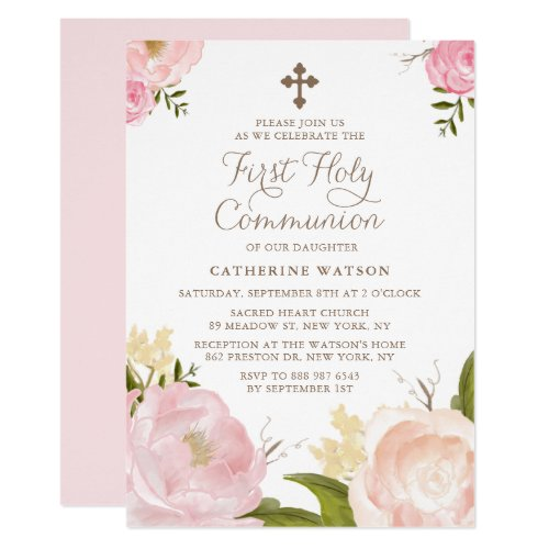 Watercolor Pink Peonies First Holy Communion II Invitation