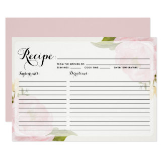 Watercolor Pink Peonies Recipe Card