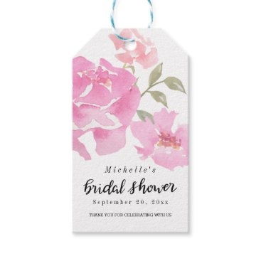 wedding_trends_now Watercolor Pink Peonies   Script Bridal Shower Gift Tags