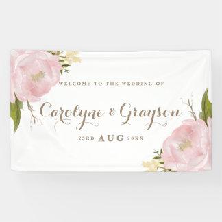 Watercolor Pink Peonies Wedding Banner