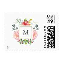 Watercolor Pink Peonies with Monogram Postage