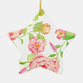 Watercolor pink peony pattern ceramic ornament