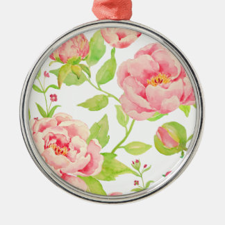 Watercolor pink peony pattern metal ornament