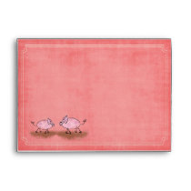 Watercolor Pink Piggies Envelope