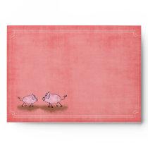 Watercolor Pink Piggies Envelope