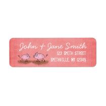 Watercolor Pink Piggies Label