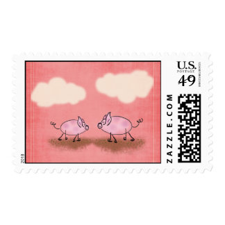 Watercolor Pink Piggies Postage