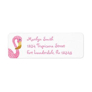 Watercolor Pink Polka Dot Flamingo Label