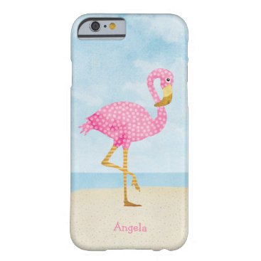 Beach Themed Watercolor Pink Polka Dot Flamingo on the Beach Barely There iPhone 6 Case