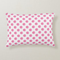 watercolor pink polka dots dotty design accent pillow