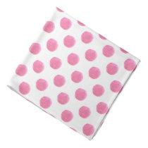 watercolor pink polka dots dotty design bandana