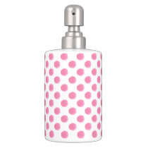 watercolor pink polka dots dotty design bathroom set
