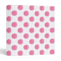 watercolor pink polka dots dotty design binder