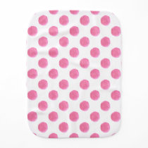 watercolor pink polka dots dotty design burp cloth