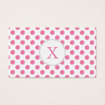 watercolor pink polka dots dotty design business card