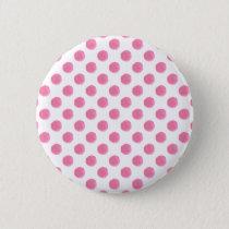 watercolor pink polka dots dotty design button
