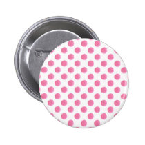 watercolor pink polka dots dotty design button