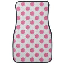 watercolor pink polka dots dotty design car floor mat