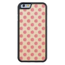 watercolor pink polka dots dotty design carved maple iPhone 6 bumper case