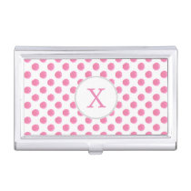 watercolor pink polka dots dotty design case for business cards