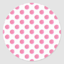 watercolor pink polka dots dotty design classic round sticker