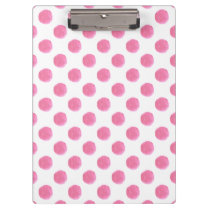 watercolor pink polka dots dotty design clipboard