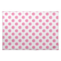 watercolor pink polka dots dotty design cloth placemat