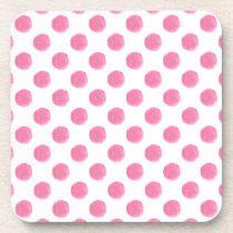 watercolor pink polka dots dotty design coaster