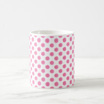 watercolor pink polka dots dotty design coffee mug