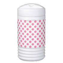 watercolor pink polka dots dotty design cooler