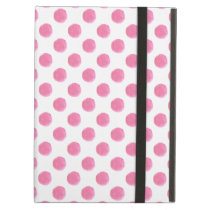 watercolor pink polka dots dotty design cover for iPad air