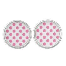 watercolor pink polka dots dotty design cufflinks
