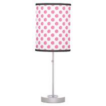 watercolor pink polka dots dotty design desk lamp