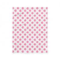 watercolor pink polka dots dotty design fleece blanket