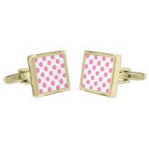 watercolor pink polka dots dotty design gold cufflinks