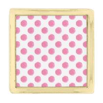 watercolor pink polka dots dotty design gold finish lapel pin