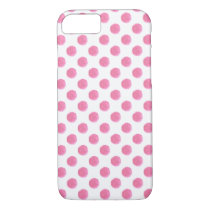 watercolor pink polka dots dotty design iPhone 7 case