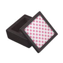 watercolor pink polka dots dotty design keepsake box