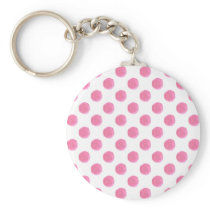 watercolor pink polka dots dotty design keychain