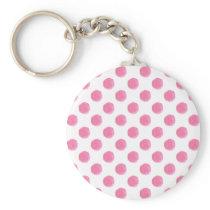 watercolor pink polka dots dotty design keychain