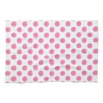 watercolor pink polka dots dotty design kitchen towel