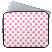 watercolor pink polka dots dotty design laptop sleeve